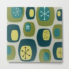 Mid Century Modern Oblongs Olive Green Metal Print