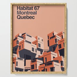 Habitat 67 retro poster Serving Tray