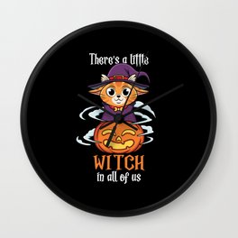 There Little Witch in All Of Us Cute Cat Halloween Wall Clock