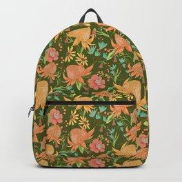 Australian Florals in Green Backpack