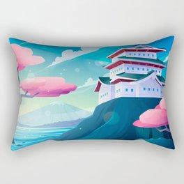 Japanese Temple On A Mountain Rectangular Pillow