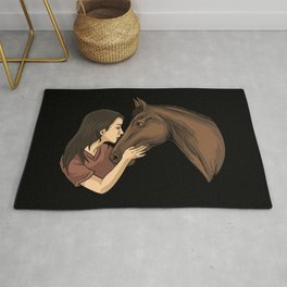 Girl Kissing A Horse Rug