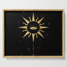 evil eye celestial gold sun Serving Tray