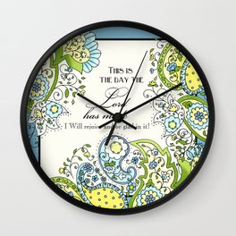Hand Drawn Paisley Floral, Flower n Leaf Scroll Inspirational Text Wall Clock
