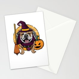 Witch Bulldog Dog Costume For Spooky Halloween Stationery Cards