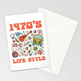 Hippie 1970 life style Stationery Cards