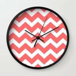 Flamingo Pink Chevron Zig Zag Pattern Wall Clock