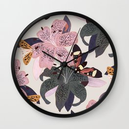 Lilies and butterflies insects Wall Clock