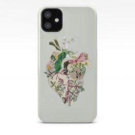 Vintage Botanical Heart On Green iPhone Case