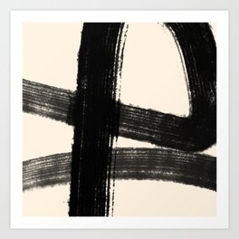 Abstract Minimalist Painted Brushstrokes in Black and Almond Cream 1 Art Print