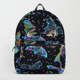 Three Bat Brothers Psychedelic Pattern Backpack