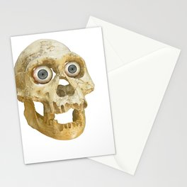 Neandethul Skull with Blue Eyes Stationery Cards