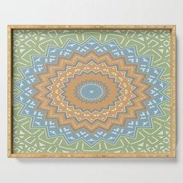 Mint Tribal Mandala Serving Tray
