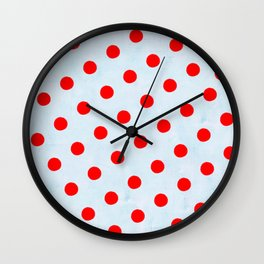 Huge Red Polka Dots and Blue Vintage Light Background Wall Clock