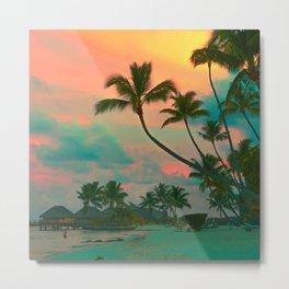 Tahitian Sunset  Photo Coral and Teal Metal Print