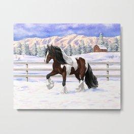Brown and White Bay Pinto Skewbald Gypsy Vanner Draft Horse In Snow Metal Print