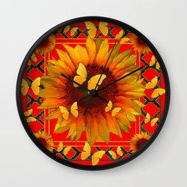 RED KANSAS SUNFLOWERS BUTTERFLY ART Wall Clock