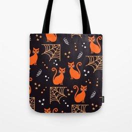 Halloween cats orange party Tote Bag