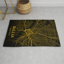 Dallas Texas City Map | Gold America City Street Map | United States Cities Maps Rug