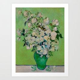 White Rose In A Vase Vincent van Gogh 1890 Oil on Canvas Still Life With Floral Arrangement Art Print