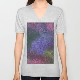 Abstract painting of sponged colorful spots Unisex V-Neck