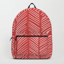 Coral Red Herringbone Backpack
