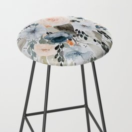 Loose Blue and Peach Floral Watercolor Bouquet  Bar Stool