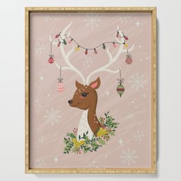 Christmas Deer in Blush Pink Serving Tray