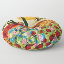 Tuscan Field of Poppies Floor Pillow