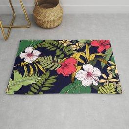 Tropical Island Oasis Floral Pattern Rug