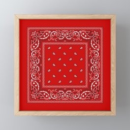 Bandana in Red - Classic Red Bandana  Framed Mini Art Print