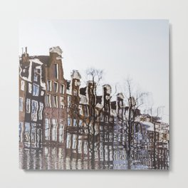 Reflection of Typical Dutch houses, Amsterdam, Netherlands Metal Print