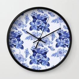 Blue Botanical Toile Wall Clock