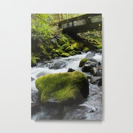 Creek Water Cascades Around a Moss Covered Boulder Roadside Oregon Metal Print