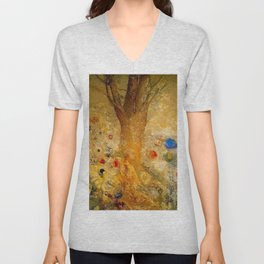 Redon's Buddha In His Youth Unisex V-Neck