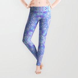 Light Blue Purple Mandala | Flower Kaleidoscope Digital Design Leggings