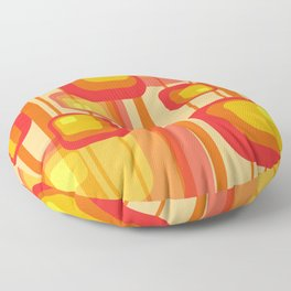 Vintage Design Red orange yellow rectangles Floor Pillow