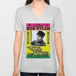 Vintage 1966 Centrum, Worcester, Massachusetts Bob Dylan Concert Billboard Gig Poster Unisex V-Neck