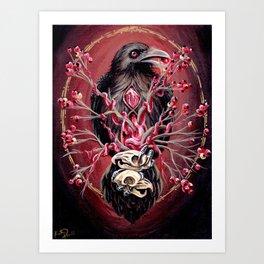 Black Raven Bird with Mice Skulls and Fruit Art Print