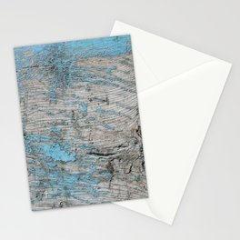 Peeled Blue Paint on Wood rustic decor Stationery Cards