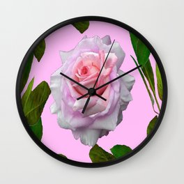 PINK GARDEN ROSE GREEN LEAVES ABSTRACT Wall Clock