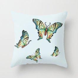 Watercolor Blue Butterflies on Aqua Blue Throw Pillow