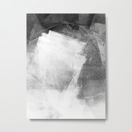 Black and White Ethereal Minimalist Abstract Painting Metal Print