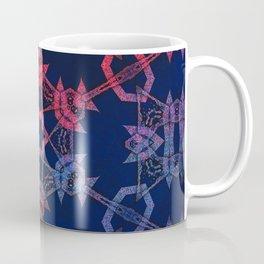 Blue and red glow tribal mandala Coffee Mug