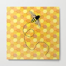 Bees on Honeycomb Pattern Metal Print