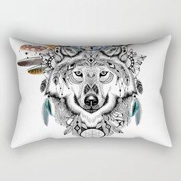 Bohemian Wolf with Feather Headdress Rectangular Pillow