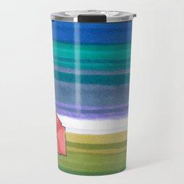 American Farm Landscape Blue Stripes 82 Travel Mug