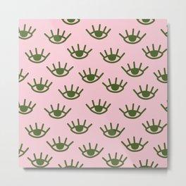 Green Eyes On Pink Background Metal Print