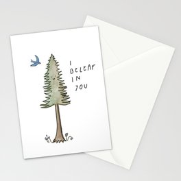 I Beleaf in You / Evergreen and Bluebird Uplifting Print Stationery Cards