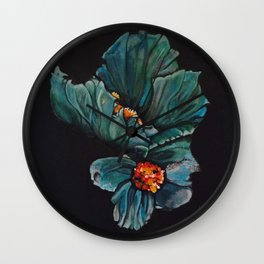 Remembrance - Blue Poppy Himalayan Flower Wall Clock